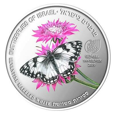 Israel 2019 Coins & Medals Levantine Marbled White Butterfly Color Silver • 77$