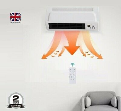 Wall Fan Heater 7 DAY Timer PTC  Bathroom Workshop Electric Wall Mounted Remote  • 36.49£