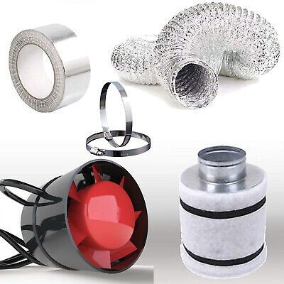 4  In Line Fan Carbon Filter Duct Kit Hydroponic Grow Room Tent Ventilation Plug • 39.99£