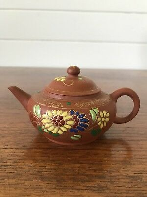 AU70 • Buy Vintage Authentic Chinese Yixing Zisha Clay Teapot Stamped To Base Hand Painted