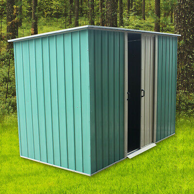 New Metal 8 X 4FT Garden Shed Outdoor Storage House Pent Roof Sliding Door • 149.99£