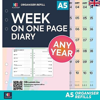 £4.50 • Buy A5 Filofax COMPATIBLE Week On One Page Diary Organiser Refill Insert Any Year