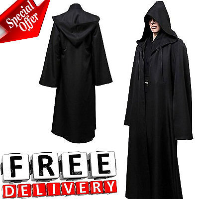 c24231c7cd Men Hooded Robe Cloak Adult Kids Cool Costume Jedi Sith Black Star Wars New  • 31.99