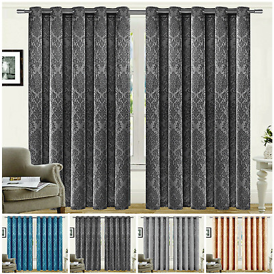 Extra Wide Blackout Eyelet Curtains Pair Of Ready Made Ring Top Thermal Curtains • 19.99£