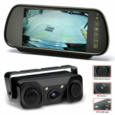 AU68.99 • Buy 2 In 1 Reverse Camera & Parking Sensors Kit With 7 Inch Mirror Monitor Screen