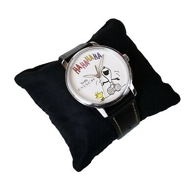 c499d48549 New Coach Peanuts Collection Laughing Snoopy Leather Strap Watch 14400012 ⌚  • 295.19€