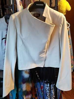 $ CDN263.32 • Buy Danier Leather *Sample* Jacket White Cropped Asymmetrical XS Fits Up To Med M