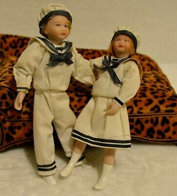 $ CDN290.45 • Buy Miniature Doll Porcelain Sailor Dollhouse 1:12 Boy Girl Pair Nautical Vintage