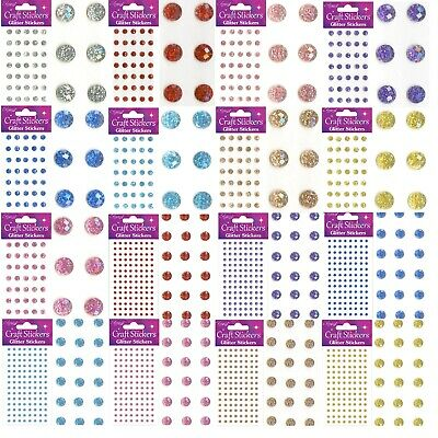 STICKERS CRAFT PEARL DOTS SPARKLY GEM CARD MAKING Self Adhesive EL2843 • 1.69£