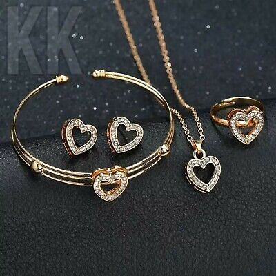 £3.54 • Buy Christmas Heart Necklace Earrings Sets Jewelry Crystal Children Lovely Gold Girl