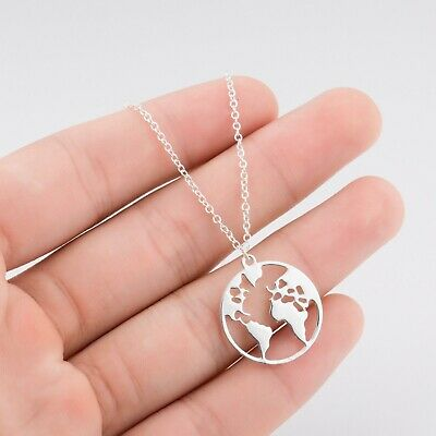 £3.99 • Buy Ladies Silver Rose Gold Planet Earth World Map Travel Necklace Gift Present UK