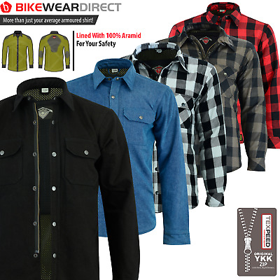 Motorbike Motorcycle Shirt Jacket Aramid Lined Protection With CE Biker Armour • 74.99£