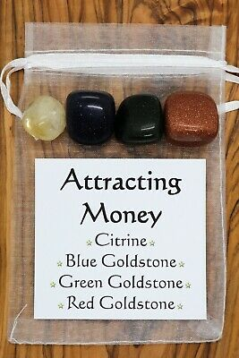 Attracting Money Crystal Gift Set Citrine Blue Red Green Goldstone Wealth Riches • 5.95£