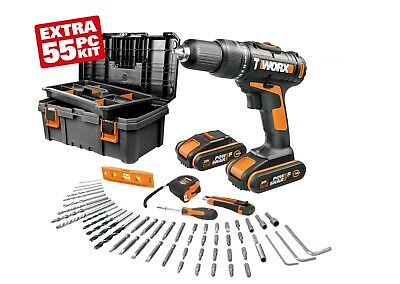 View Details WORX WX386.5 18V (20V MAX) Hammer Drill With X2 1.5Ah Batteries & 55pc Tool Kit • 149.99£
