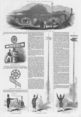GWR Great Western Railway Signals In Victorian Times - Antique Print 1844 • 12.95£