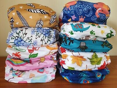 AU47.50 • Buy Alva Baby One Size Cloth Nappies With Microfiber Inserts Bulk Pack Choose Design