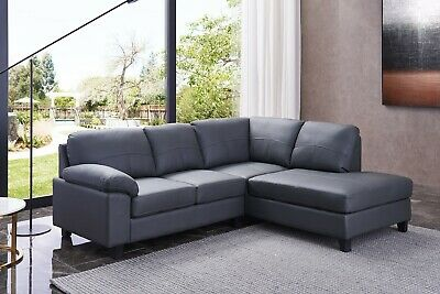 Dark Grey High Grade Genuine Leather Corner Sofa RH Facing BOSTON • 599£