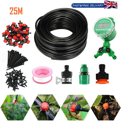 82ft Automatic Drip Irrigation System Kit Plant Timer Self Watering Garden Hose • 14.99£