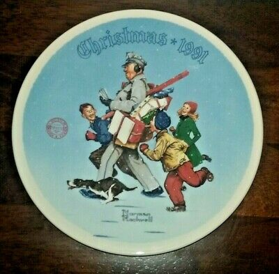 $ CDN32 • Buy Norman Rockwell 1991 Christmas Collectors Plate  Santa's Helper  - Knowles China