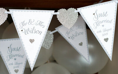 Wedding Mr And Mrs Personalised Bunting Silver Just Married Banner Sign Bespoke • 13.95£