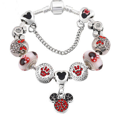 Mickey Minnie Mouse Love Heart Palace Silver Red Charm Bracelet Valentine Gift • 6.99£