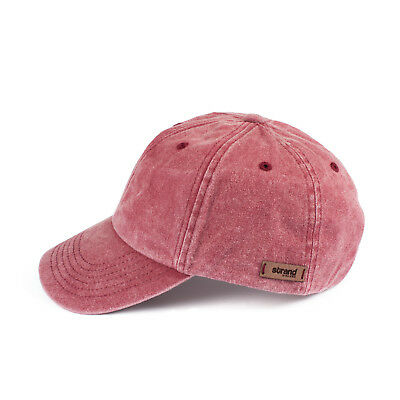 Washed Style Baseball Cap Cotton Denim Distressed Retro Heritage Womens Mens Red • 14.99£