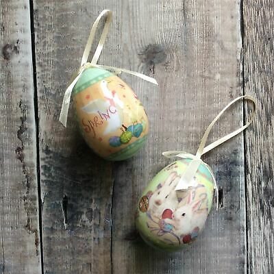 Bunny And Goose Easter Egg Decorations With Bow Pair Gisela Graham • 4.50£