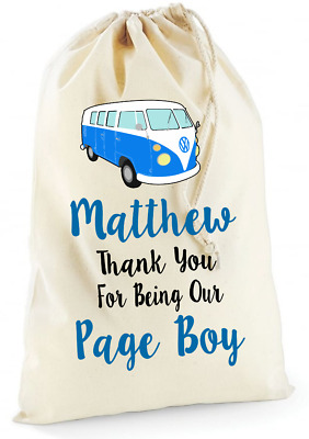 £5.95 • Buy Personalised Campervan Bridesmaid Page Boy Wedding Cotton Drawstring Bag Gift