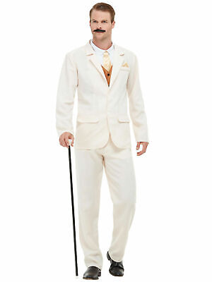 Mens Roaring 20s Gent Costume White Suit Fancy Dress Peaky Gatsby Victorian • 27.50£