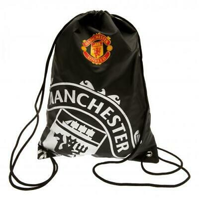Manchester United Gym Bag Official P.E Bag Drawstring Black Swimming Kit Bag • 9.99£