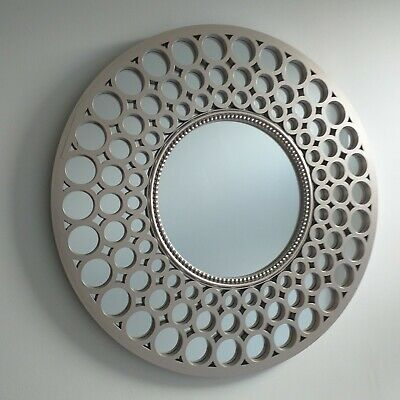 Metallic Silver Large Moroccan Round Wall Art Mirror Contemporary Mirror Decor  • 27.99£