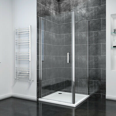 Frameless Pivot Shower Door Enclosure And Tray Reversible Glass Screen Cubicle • 146.99£
