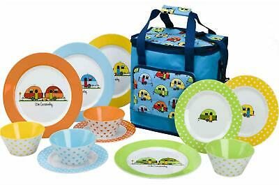 £34.32 • Buy Love Caravan 12 Piece Melamine Plate Camping Dining Picnic Set With 16L Cool Bag