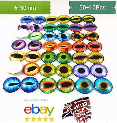 50pcs ANIMAL EYES GLASS CABOCHON 6-30mm- Flatback Charms & Cabochons GOOGLY EYES • 4.99£