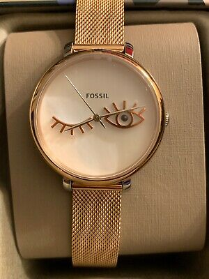 edaf11a01922 Fossil ES4414 Jacqueline Wink Eye Rose Gold Tone Stainless Steel Women Watch  New • 70.00