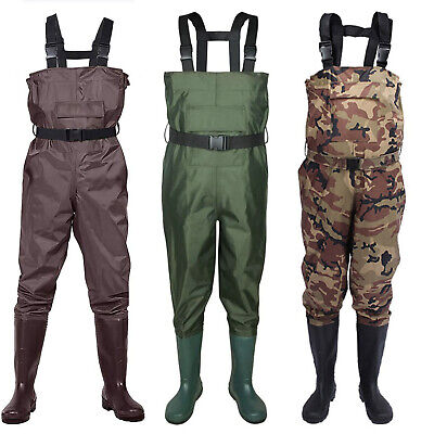 53aae5f833e68 2-Ply Waterproof Chest Waders Fishing Hunting Nylon Rubber Bootfoot 10-14  Size •