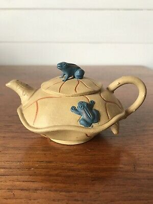 AU65 • Buy Vintage Chinese Small Yixing Clay Teapot Hand Painted Frogs Stamped To Base