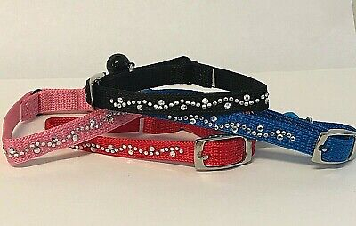 DELUXE Cat Kitten Collar Safety Elastic Bling Sparkly Diamante Cat Collar Bell • 2.39£