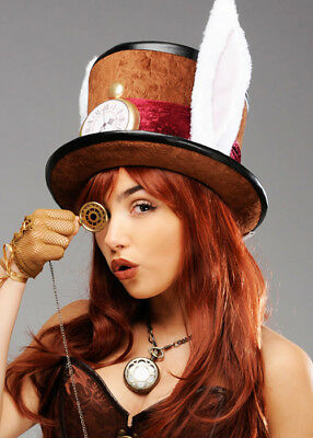 Brown Steampunk Mad Hatter Fantasy Fancy Dress Cosplay Top Hat • 18.99£