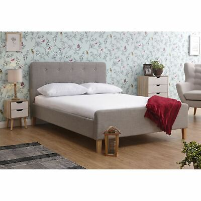 £189 • Buy Light Grey Hopsack Fabric Retro 5ft King Size Bed Modern Buttoned Headboard