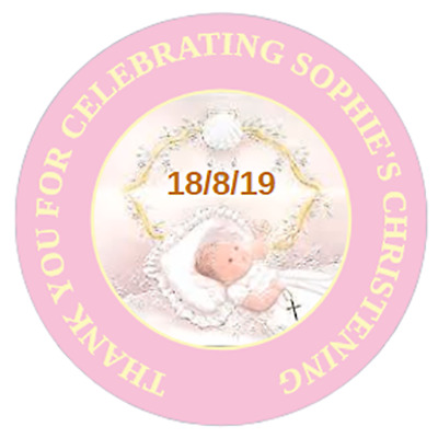 48 Personalised Christening Baptism Stickers Pink Or Blue  40mm Labels • 3.75£