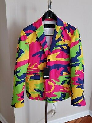 $350 • Buy Dsquared2 D2 NeonCamouflage Blazer W/ Bespoked Working Sleeve Buttons