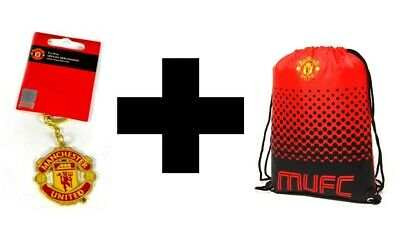 Manchester United Official Gym Bag And Keyring Combo Drawstring P.E Bag Red • 13.99£
