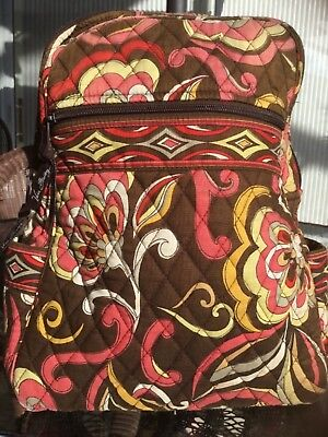 7bfb84764d Vera Bradley Pucchini Backpack Quilted Small Brown And Pink Floral • 20.49