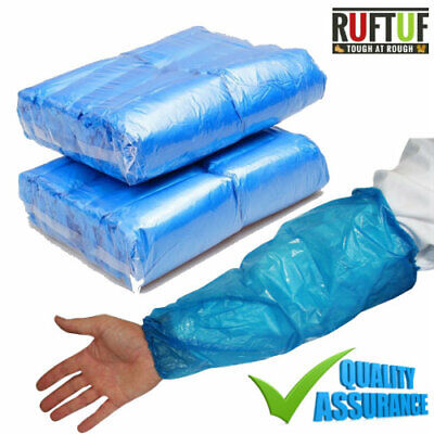 BLUE Disposable Plastic Arm Sleeves Covers Oversleeves Cleaning Protective • 8.99£