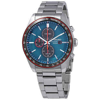$ CDN266.68 • Buy Seiko Solar Chronograph Quartz Blue Dial Men's Watch SSC717