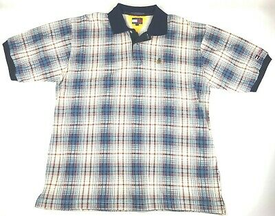 3fc135f1 Tommy Hilfiger VTG Men's Sailing Gear Spell Out Polo Shirt Plaid 100%  Cotton XL •