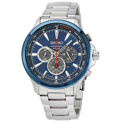 $ CDN260.68 • Buy Seiko Solar Chronograph Blue Dial Men's Watch SSC495