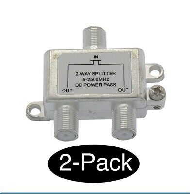 £6.83 • Buy 2x 2Way Splitter Coax/Coaxial Antenna RF Satellite Cable TV Signal DC Power Pass