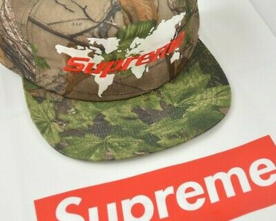 $ CDN113.90 • Buy Supreme World 5 Panel Real Tree Camo Snapback Cap Hat SS19 IN HAND